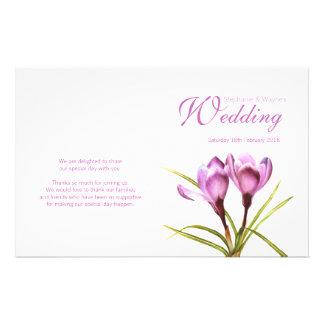 Crocus purple floral wedding programme