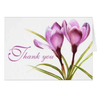 Crocus purple flower wedding thank you card