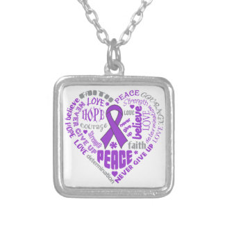 Crohn's Disease Awareness Heart Words Square Pendant Necklace