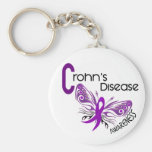 Crohn's Disease BUTTERFLY 3 Basic Round Button Key Ring