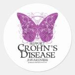 Crohn's Disease Butterfly Round Sticker
