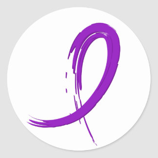 Crohn's Disease Purple Ribbon A4 Round Sticker