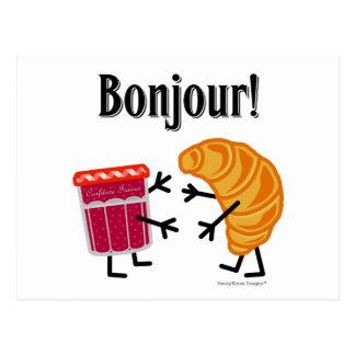 Croissant and Jam - Bonjour! Postcard