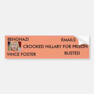 Crooked Hillary for Prison Bumper Sticker