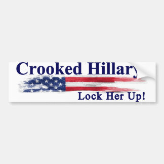 Crooked Hillary Lock Her Up Bumper Sticker