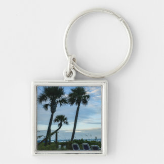 Crooked Palm Trees Silver-Colored Square Key Ring