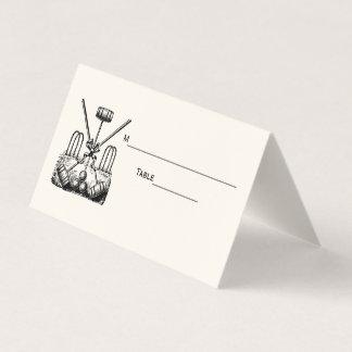 Croquet Equipment Set Escort Card Place Card Ivory