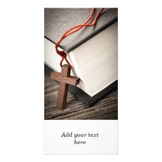 Cross and Bible Custom Photo Card