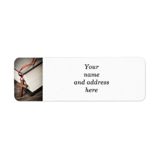 Cross and Bible Return Address Label