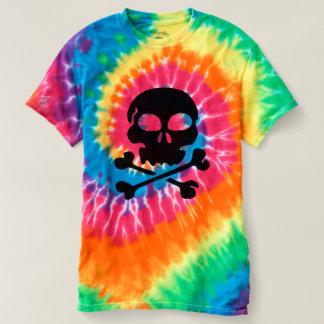 Cross and Bones Skull Men's Spiral Tie-Dye T-Shirt