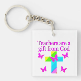 CROSS AND BUTTERFLY TEACHERS BLESSING DESIGN Double-Sided SQUARE ACRYLIC KEY RING