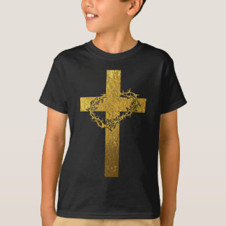Cross and Crown of Thorns in Gold Tees