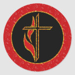 Cross and Flame Round Sticker