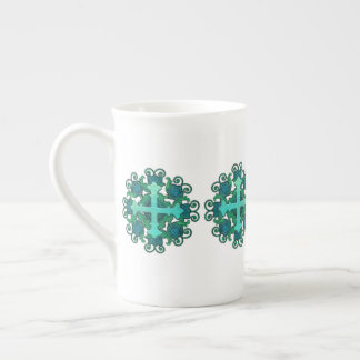 Cross and Floral Design on Bone China Mug