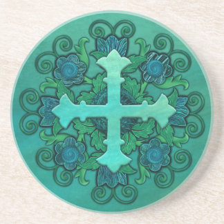 Cross and Floral Design on Sandstone Coaster