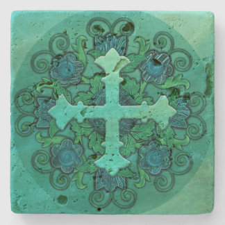 Cross and Floral Design on Stone Coaster