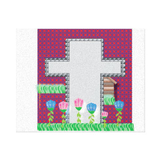 Cross and Flowers Canvas Gallery Wrapped Canvas