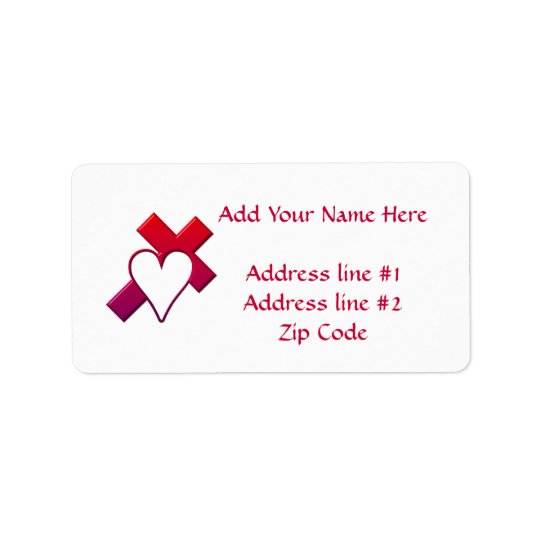 Cross and heart #1 ( 3-D Red / purple ) Address Label