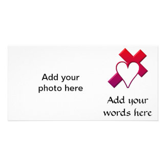 Cross and heart #1 ( 3-D Red / purple ) Personalized Photo Card