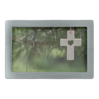 cross and heart rectangular belt buckles