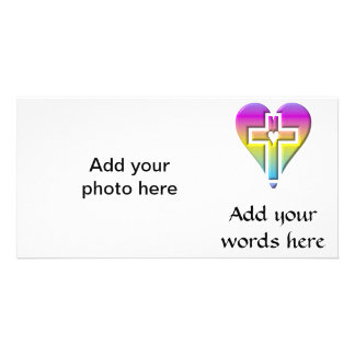 Cross and hearts #5 ( 3-D pastel ) Personalized Photo Card
