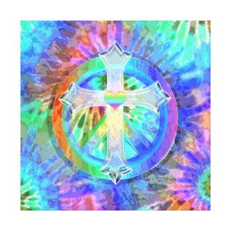Cross and Peace Sign Stretched Canvas Print
