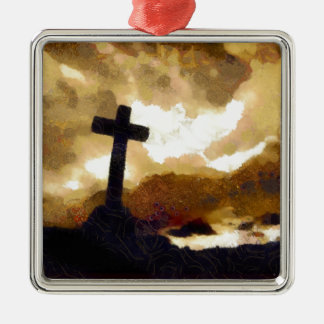 Cross and Sky Metal Ornament