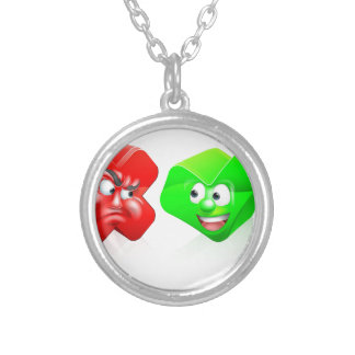 Cross and Tick Cartoon Characters Round Pendant Necklace