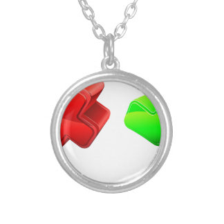 Cross and tick people round pendant necklace