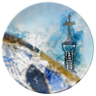 Cross at Parc Guell in Barcelona Spain Plate