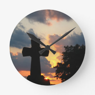 Cross at Sunset Clock