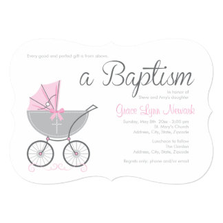 Cross Baby Carriage | Pink Girl Baptism Invitation