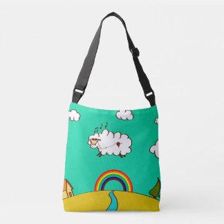 Cross Body Bag w Cool Rainbow Flying Sheep Print