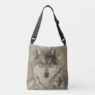 Cross Body Bag with Timber Wolf Illustration