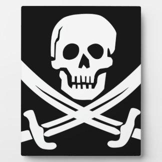 Cross Bones Flag Pirate Skull Plaque