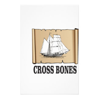 cross bones scroll personalized stationery