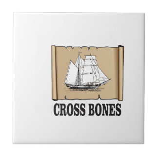 cross bones scroll small square tile
