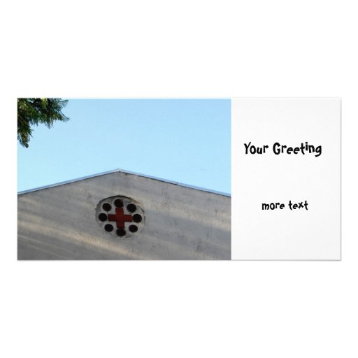 Cross Building Custom Photo Card