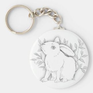 cross bunny basic round button key ring