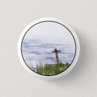 Cross by river 3 cm round badge