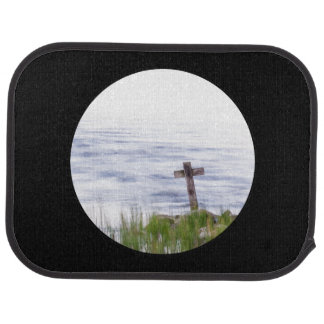 Cross by river car mat