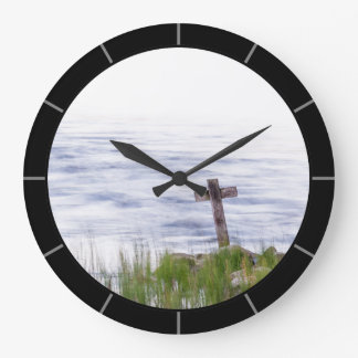 Cross by river large clock