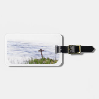 Cross by river luggage tag
