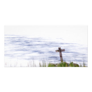 Cross by river personalized photo card