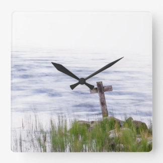 Cross by river square wall clock