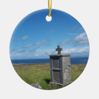Cross by the sea ceramic ornament