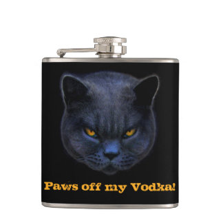 Cross Cat says Paws off my Vodka! Hip Flask