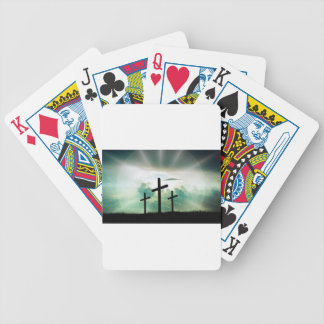 Cross Christ Faith God Jesus Clouds Sun Light Bicycle Playing Cards