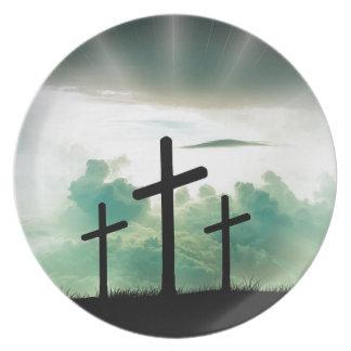 Cross Christ Faith God Jesus Clouds Sun Light Plate