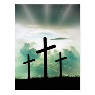 Cross Christ Faith God Jesus Clouds Sun Light Postcard